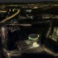 Letecký noční pohled s osvětlením kostela